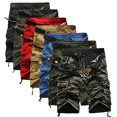 cheap Hunting & Nature-Men's Cargo Shorts Hiking Shorts Tactical Shorts Belted Multi-Pockets Quick Dry Breathable Wearproof Summer Solid Colored Camo / Camouflage Cotton Bottoms for Hunting Fishing Casual Red Army Green