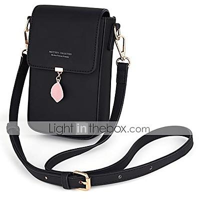 cheap Bags-crossbody bags for women leaf pendant card holder phone checkbook organizer snap pocket purse black