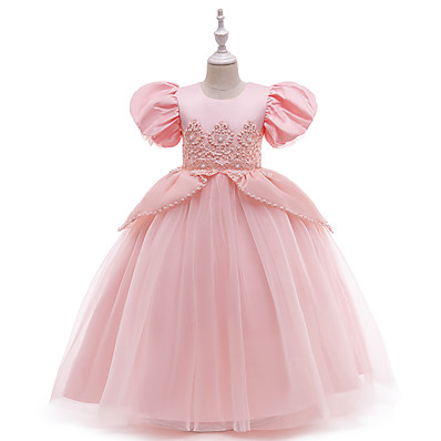 cheap Kids-Kids Little Girls' Dress Solid Colored Butterfly Embroidered Mesh Bow Blushing Pink Midi Short Sleeve Cute Dresses Children's Day Slim