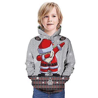 cheap Kids-Kids Girls' Hoodie & Sweatshirt Long Sleeve Santa Claus Graphic 3D Christmas Print Gray Children Tops Active Christmas
