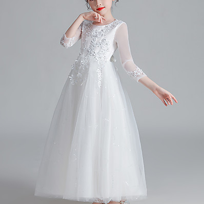 cheap Kids-Kids Little Girls' Dress Floral Tulle Dress Mesh White Blushing Pink Gold Maxi Long Sleeve Active Cute Dresses Children's Day Regular Fit