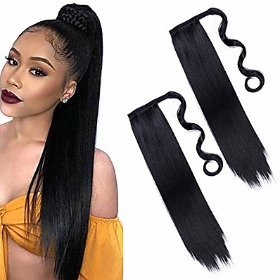 cheap Hair Extensions-2pieces 24inch long black straight ponytail hair extension wrap around ponytail extensions synthetic clip in ponytail hair extensions hairpiece for women