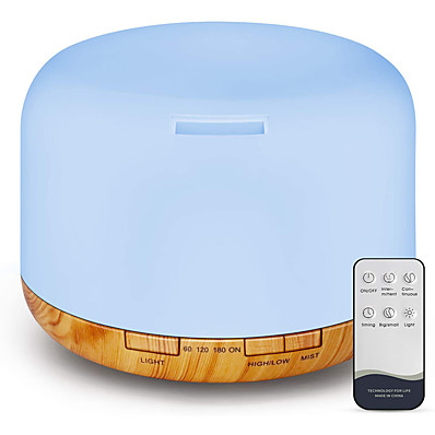 cheap Electrical & Tools-Essential Oil Diffuser 500ml Diffusers for Essential Oils with Remote Control Ultrasonic Aromatherapy Diffuser Humidifier with Adjustable Cool Mist Mood Lights Timer & Waterless Auto-Off