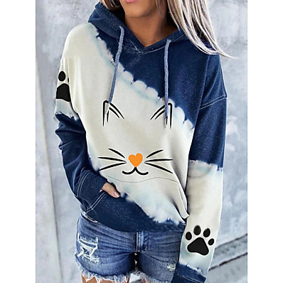 cheap Valentine's Gifts-Women's Graphic Pullover Hoodie Sweatshirt Christmas Daily Work Christmas Hoodies Sweatshirts  Blue