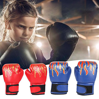cheap Boxing & Martial Arts-Boxing Gloves For Kung Fu Boxing Training MMA Grappling PU Leather Kids Child - Flame red Flame blue Flame black