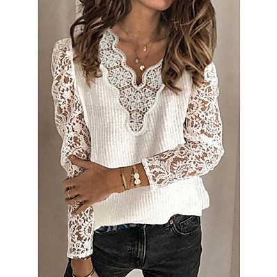 cheap Knit Tops-Women's Basic Hollow Out Knitted Solid Color Pullover Cotton Long Sleeve Sweater Cardigans V Neck Fall Winter White