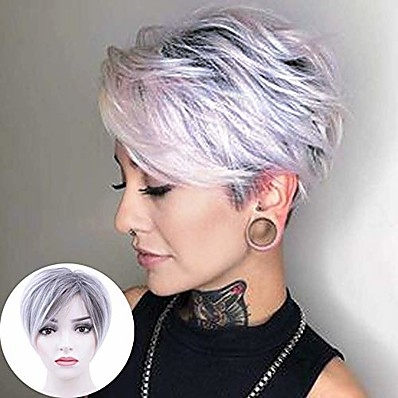 cheap Beauty & Hair-pixie cut wig short synthetic wig layered straight hair wig bangs for women cosplay (ombre roots dark brown mixed)