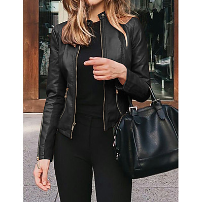 abordables Cadeaux Saint-Valentin-Femme Veste de cuir Normal Couleur Pleine Quotidien Blanche Noir Rouge Vert S M L XL