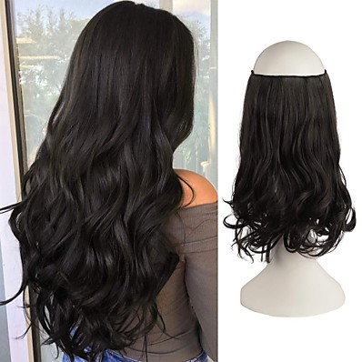 cheap Hair Extensions-Hair Extensions Invisible Secret Wire Hidden Crown Hair Extensions One Piece Curly Wavy Hidden Hair Extension Synthetic Hairpieces for Women 20 Inch