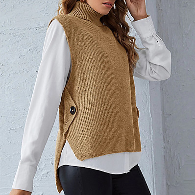 cheap Knit Tops-Women's Stylish Knitted Solid Color Vest Sleeveless Sweater Cardigans Turtleneck Fall Winter Black Blue Purple