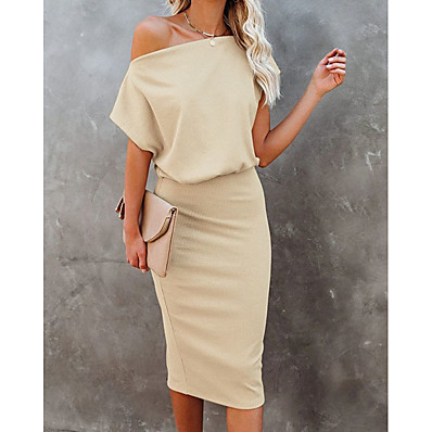cheap Valentine's Gifts-Women's Sweater Jumper Dress Knee Length Dress Blue Camel Black Short Sleeve Solid Color Patchwork Fall Spring Off Shoulder Casual Going out 2021 S M L XL