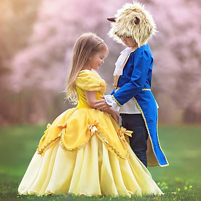 abordables ENFANT-Enfants Petit Fille Robe Bande dessinée Multirang Ruché Dentelle Jaune Maxi Manches Courtes Le style mignon Robes Standard