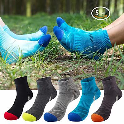 cheap Camping, Hiking & Backpacking-5 Pack Hiking Socks Cushioned Walking Running Socks Moisture Wicking Blister Resist Multi Performance Padded Quarter Crew Ankle Athletic Socks Men's Women's Outdoor Trekking