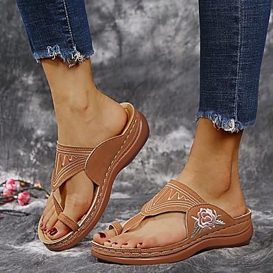 cheap Slippers-Women's Slippers & Flip-Flops Wedge Heel Open Toe Minimalism Sweet Daily Walking Shoes Faux Leather Sequin Black Blue Pink