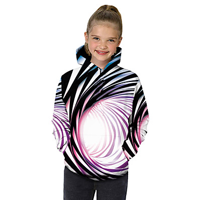 cheap Girls' Clothing-Kids Toddler Girls' Hoodie & Sweatshirt Long Sleeve Black & White Fantastic Beasts Rainbow Striped Color Block 3D Print Rainbow Children Tops Active Basic Christmas