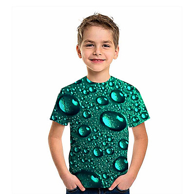 cheap Boys' Clothing-Kids Boys' T shirt Tee Short Sleeve Graphic 3D Print Children Summer Tops Active Green