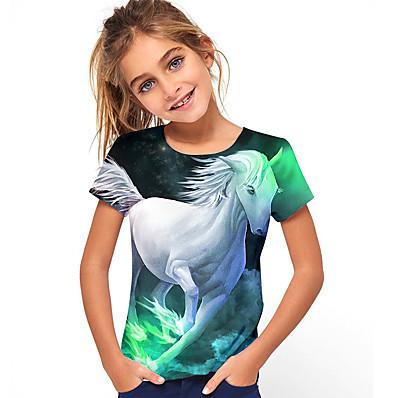 abordables Vêtements Filles-Enfants Fille T-shirt Tee-shirts Cheval Graphique 3D Animal Manches Courtes Imprimé Hauts Actif Vert