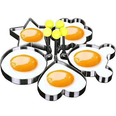 cheap Kitchen & Dining-5 Pieces Set Fried Egg Mold Pancake Rings Shaped Omelette Mold Mould Frying Egg Cooking Tools Kitchen Supplies Accessories Gadget