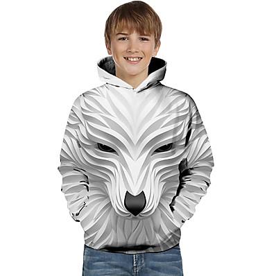 cheap Boys' Clothing-Kids Toddler Boys' Active Basic Wolf Striped Geometric Animal Print Long Sleeve Hoodie & Sweatshirt White
