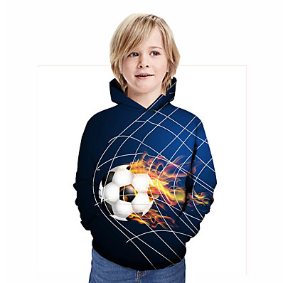 cheap Boys' Clothing-Kids Boys' Active Streetwear Geometric 3D Patchwork Print Long Sleeve Hoodie & Sweatshirt Rainbow