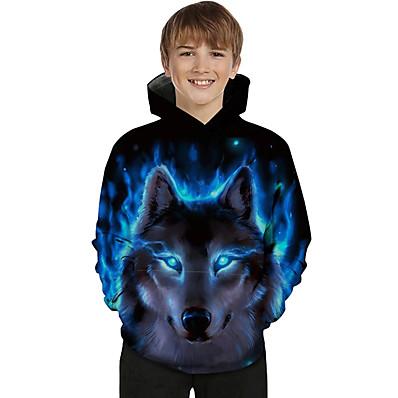 cheap Boys' Clothing-Kids Toddler Boys' Hoodie & Sweatshirt Long Sleeve 3D Print Galaxy Wolf Animal Color Block Print Light Blue Blue Purple Children Tops Active Basic Novelty 2-13 Years