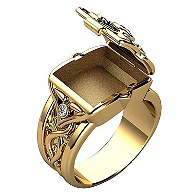 cheap Men's Jewelry-Men's Ring with Secret Compartment Mini Clamshell Storage Box Design Retro Carved Band Rings Punk Hip Hop Party Jewelry Unique Gift for Men Women Rapper Biker Gold Color Size 6-14