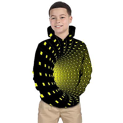 abordables Vêtements Garçons-Enfants Bébé Garçon Actif basique Galaxie Géométrique 3D Imprimé Manches Longues Pull à capuche & Sweatshirt Noir