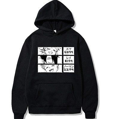 cheap Everyday Cosplay Anime Hoodies & T-Shirts-Inspired by The Promised Neverland Emma Cosplay Costume Hoodie Polyester / Cotton Blend Graphic Prints Printing Harajuku Graphic Hoodie For Women's / Men's