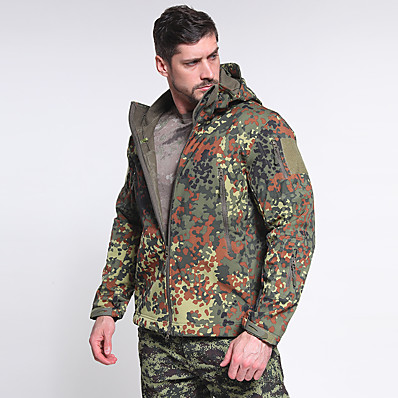 cheap Hunting & Nature-Men's Hoodie Jacket Hoodie Camouflage Hunting Jacket Outdoor Thermal Warm Waterproof Windproof Fast Dry Autumn / Fall Winter Camo Jacket Camping / Hiking Hunting Fishing Navy Jungle camouflage Desert