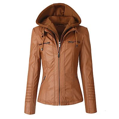 abordables Cadeaux Saint-Valentin-veste en cuir véritable sparteens pour femme bomber capuche amovible pour femme marron