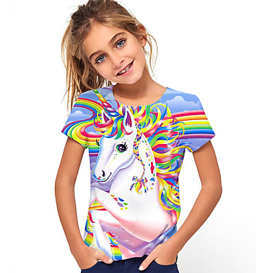 cheap Kids-Kids Girls' T shirt Tee Short Sleeve Horse Unicorn Rainbow 3D Print Graphic Causal Print Children Summer Tops Active Cute Rainbow 2-13 Years