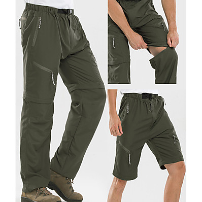 cheap Camping, Hiking & Backpacking-Men's Hiking Pants Trousers Convertible Pants / Zip Off Pants Summer Outdoor Ultra Light (UL) Quick Dry Breathable Sweat wicking Pants / Trousers Bottoms Army Green Light Grey Khaki Black Hunting