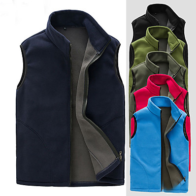 cheap Camping, Hiking & Backpacking-Men's Hiking Vest / Gilet Softshell Jacket Fishing Vest Top Outdoor Thermal Warm Waterproof Windproof Warm Autumn / Fall Winter Spring Polyester Solid Color Red Navy Blue Dark Green Hunting Ski