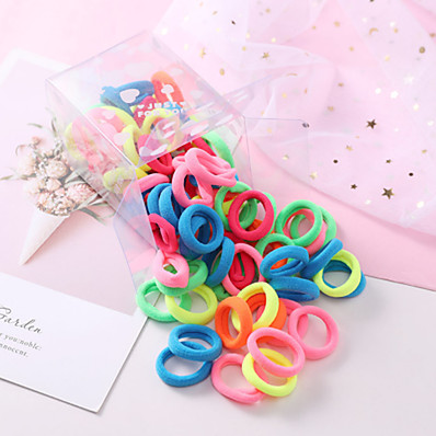 cheap Kids-50pcs Toddler Active Girls' Black / Blue Pure Color / Mixed Color Solid Colored Hair Accessories Nylon Purple / Blushing Pink / Rainbow One-Size / Hair Tie