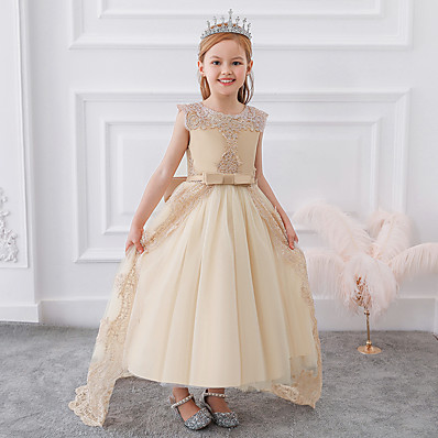 cheap Kids-Kids Little Dress Girls' Embroidery Color Block Flower Party Birthday Pegeant Tulle Lace Bow Blushing Pink Dusty Rose White Maxi Lace Tulle Sleeveless Formal Princess Dresses Regular Fit 4-13 Years