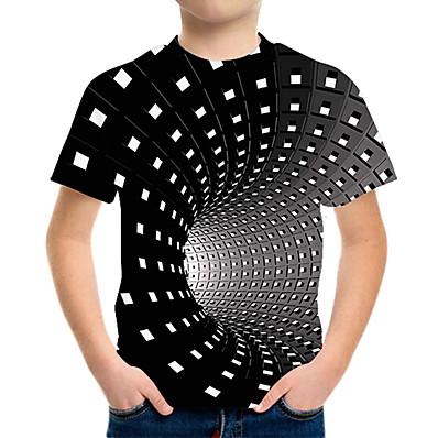 cheap Boys' Clothing-Boys Girls 3D Graphic Printed T-Shirt Crewneck Short Sleeve Tees Shirts 6-14 Years