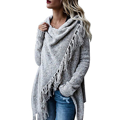 cheap Knit Tops-Women's Basic Tassel Knitted Solid Color Poncho Sweater Cotton Long Sleeve Sweater Cardigans Crew Neck Fall Winter Army Green Khaki Light gray