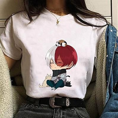 cheap Everyday Cosplay Anime Hoodies & T-Shirts-Inspired by My Hero Academia / Boku No Hero Todoroki Shoto Cosplay Costume T-shirt Polyester / Cotton Blend Graphic Prints Printing Harajuku Graphic T-shirt For Women's / Men's