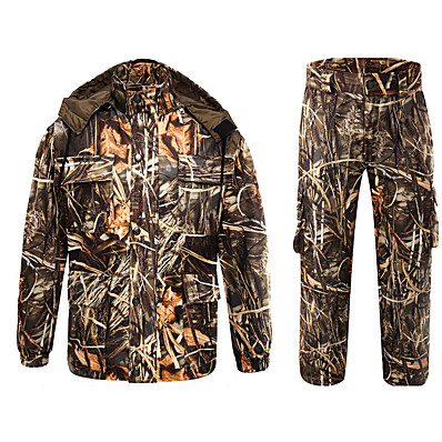 cheap Hunting & Nature-Men's Unisex Hiking Softshell Jacket Hoodie Ski Suit Outdoor Thermal Warm Windproof Quick Dry Breathable Autumn / Fall Winter Camo / Camouflage Coat Top Clothing Suit Polyester Taffeta Polyester