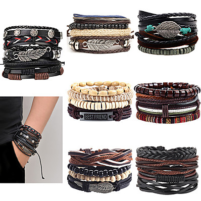 cheap Men's Jewelry-Leather Wrap Boho Bracelet Handmade Braided Bead Adjustable Layer Bracelet Set Cuff for Man Woman