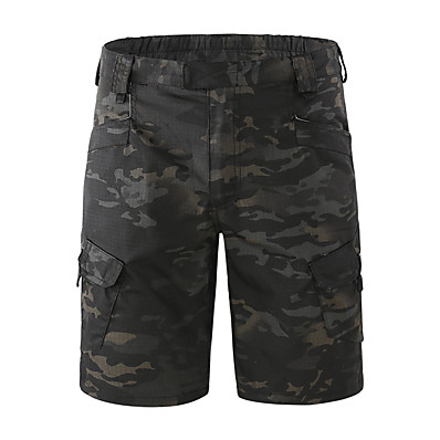 cheap Hunting & Nature-Men's Hiking Cargo Shorts Tactical Shorts Camo Shorts Summer Multi-Pockets Quick Dry Breathable Sweat-Wicking Camo / Camouflage Bottoms for Camping / Hiking Hunting Combat Dark Khaki Shallow Khaki CP