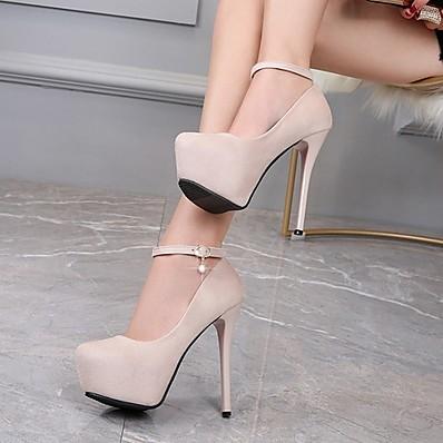 cheap Pumps & Heels-Women's Heels Stiletto Heel Pointed Toe Daily PU Black Beige