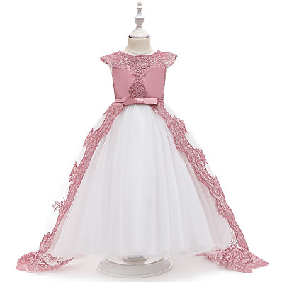 cheap Kids-Kids Little Girls' Dress Solid Colored Butterfly Mesh Bow Blushing Pink White Knee-length 3/4 Length Sleeve Cute Dresses Children's Day Slim