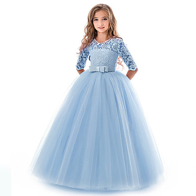 cheap KIDS-Kids Girls' Flower Vintage Gowns Wedding Party Evening Solid Colored Short Sleeve Lace Dress White 5-13 Years