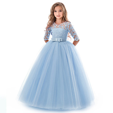 cheap Kids-Kids Little Girls' Dress Solid Colored Flower Wedding Party Evening Hollow Out White Blue Purple Lace Tulle Maxi Short Sleeve Flower Vintage Gowns Dresses 3-13 Years