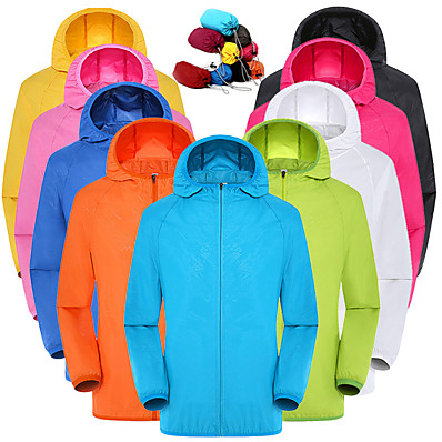 cheap Hunting & Nature-Unisex Full Zip Hooded Hoodie Jacket Rain Jacket Hiking Skin Jacket Outdoor Spring Summer Packable Waterproof Sun Protection Windproof Polyester Camping / Hiking Hunting Fishing Sapphire Wine Red Pink