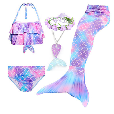 cheap Kids-Kids Girls' Swimwear Bikini 5pcs Swimsuit Mermaid Tail The Little Mermaid Swimwear Rainbow Colorful Sleeveless Purple Costumes Princess Cute Bathing Suits 3-10 Years
