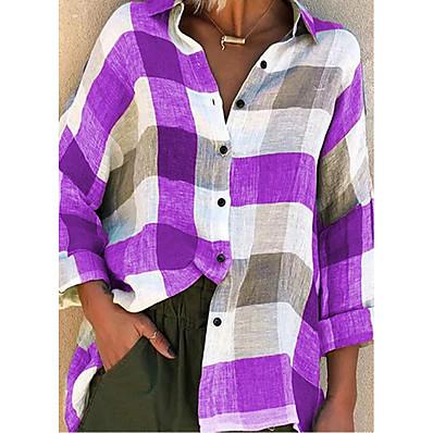 cheap Valentine's Gifts-Women's Blouse Shirt Pattern Plaid Check Long Sleeve Patchwork Print Shirt Collar Basic Tops Blue Purple Red