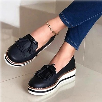 cheap Sneakers-Women's Sneakers Wedge Heel Round Toe British Daily Walking Shoes Faux Leather Solid Colored Black Red Blue