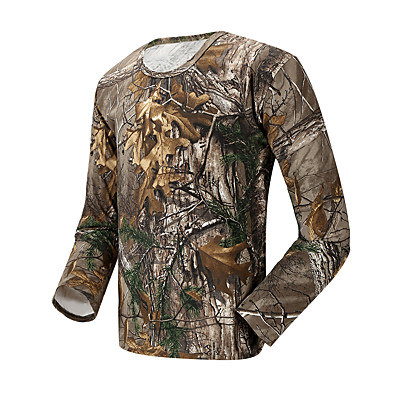 cheap Hunting & Nature-Men's Hunting T-shirt Tee shirt Camouflage Hunting T-shirt Camo / Camouflage Long Sleeve Outdoor Spring Summer Ultra Light (UL) Quick Dry Breathable Sweat wicking Top Cotton Polyester Camping